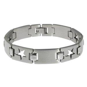 Armband aus Edelstahl. Breite:12mm. Gewicht:45g. Mit Bügelverschluss. Edelstahl Stern