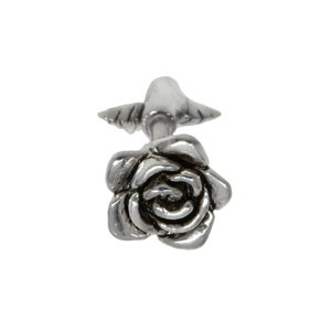 Ear piercing Surgical Steel 316L silver-plated brass Flower Leaf Plant_pattern Rose