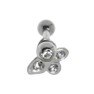 Ear piercing Surgical Steel 316L silver-plated brass Crystal Butterfly