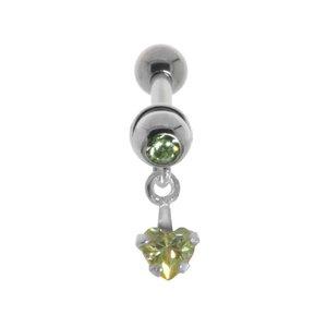 Ohrpiercing Chirurgenstahl 316L Messing mit Silberbeschichtung Kristall Zirkonia Herz Liebe