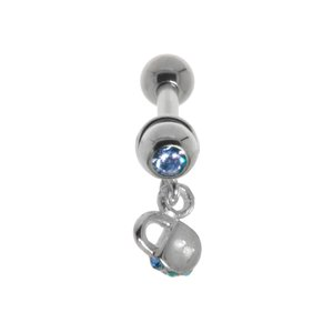 Ear piercing Surgical Steel 316L silver-plated brass Crystal Lock