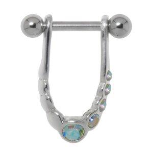Ohrpiercing Chirurgenstahl 316L Messing mit Silberbeschichtung Kristall Ewig Schlaufe Endlos