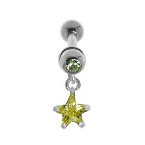 Ohrpiercing Chirurgenstahl 316L Messing mit Silberbeschichtung Kristall Zirkonia Stern