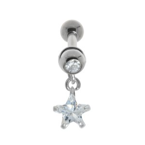 Ear piercing Surgical Steel 316L silver-plated brass Crystal zirconia Star