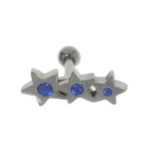 Ohrpiercing Chirurgenstahl 316L Kristall Messing mit Silberbeschichtung Stern