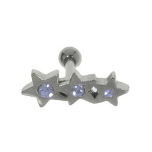 Ear piercing Surgical Steel 316L Crystal silver-plated brass Star
