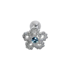Ear piercing Surgical Steel 316L silver-plated brass Crystal Flower