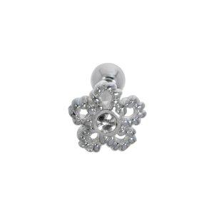 Piercing de oreja Acero quirúrgico Latón con revestimiento de plata Cristal Flor