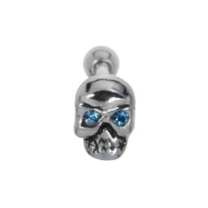 Ear piercing Surgical Steel 316L silver-plated brass Crystal Skull Skeleton