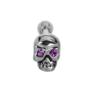 Piercing orecchio Metallo chirurgico 316L Ottone con rivestimento in argento Cristallo Teschio Testa_di_morto Osso