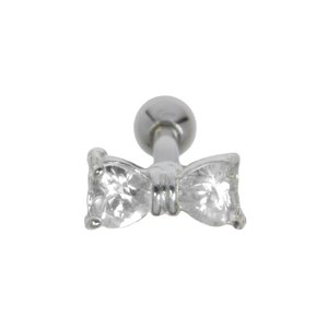 Ear piercing Surgical Steel 316L silver-plated brass zirconia Ribbon Bow Hair_bow