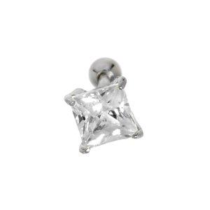 Ear piercing Surgical Steel 316L silver-plated brass zirconia