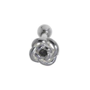 Ohrpiercing Chirurgenstahl 316L Messing mit Silberbeschichtung Kristall Blume Rose
