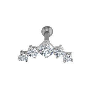 Ear piercing Surgical Steel 316L silver-plated brass zirconia