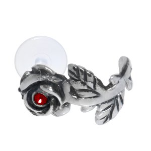 Ear piercing Silver 925 Crystal Bioplast Flower Rose