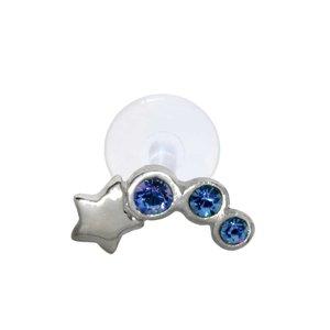 Ear piercing Silver 925 Crystal Bioplast Star