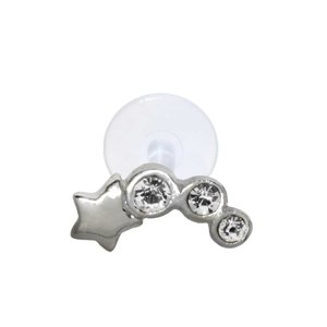 Ear piercing Silver 925 Crystal Bioplast Star