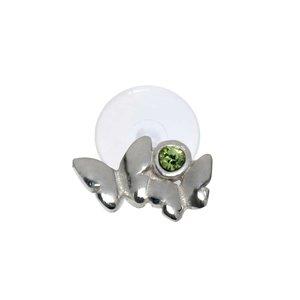 Ear piercing Silver 925 Crystal Bioplast Butterfly