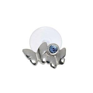 Piercing de oreja Plata 925 Cristal Bioplast Mariposa