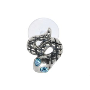 Piercing de oreja Plata 925 Cristal Bioplast Serpiente