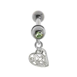 oorpiercing Chirurgisch staal 316L Messing met zilverlaagje Kristal kruis hart liefde blad blaadje plantpatroon