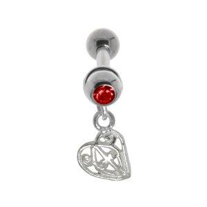 Piercing de oreja Acero quirúrgico Latón con revestimiento de plata Cristal Cruz Corazón Amor Hoja Diseño_floral