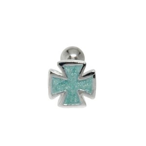 Ear piercing Surgical Steel 316L silver-plated brass Enamel Cross