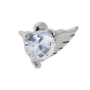 Ear piercing Stainless Steel zirconia Heart Love Wings