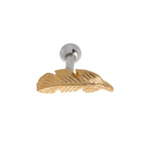 Ear piercing Surgical Steel 316L Gold-plated Feather