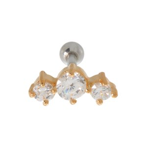 Ear piercing Surgical Steel 316L zirconia Gold-plated