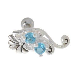 Piercing orecchio Metallo chirurgico 316L Zircone Fiore Foglia Disegno_floreale