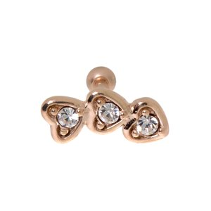 Ear piercing Surgical Steel 316L zirconia PVD-coating (gold color) Heart Love