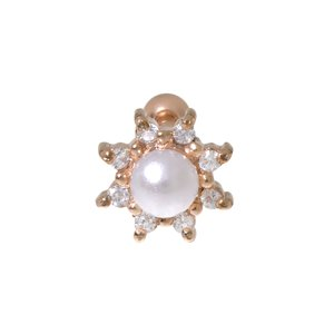 Ear piercing Surgical Steel 316L zirconia Synthetic Pearls PVD-coating (gold color) Flower Star