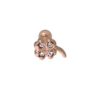 Piercing de oreja Acero quirúrgico Circonita Revestimiento PVD (color oro) Hoja Diseño_floral