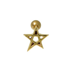 Ear piercing Surgical Steel 316L PVD-coating (gold color) Star