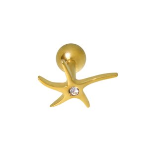 Ear piercing Surgical Steel 316L Crystal PVD-coating (gold color) Starfish Star