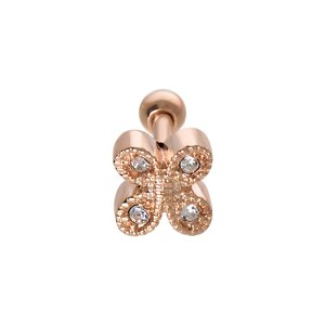 Ear piercing Surgical Steel 316L Crystal PVD-coating (gold color) Butterfly