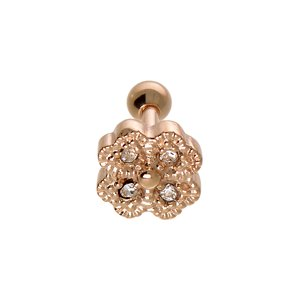 Ear piercing Surgical Steel 316L Crystal PVD-coating (gold color) Leaf Plant_pattern Flower
