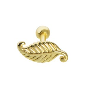 Ear piercing silver-plated brass Gold-plated Feather Leaf Plant_pattern