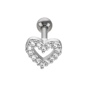Ear piercing Surgical Steel 316L Crystal Heart Love