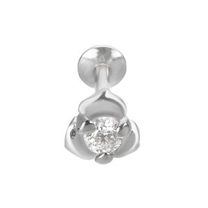 Ear piercing Silver 925 zirconia Flower Rose