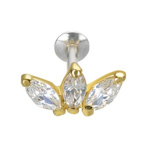 Ear piercing Silver 925 PVD-coating (gold color) zirconia Flower Leaf Plant_pattern