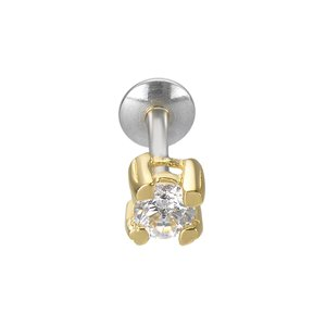 Ear piercing Silver 925 PVD-coating (gold color) zirconia