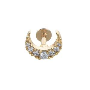 oorpiercing Chirurgisch staal 316L PVD laag (goudkleurig) Kristal Maan Halvemaan
