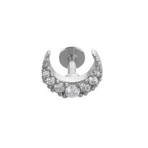 Ear piercing Surgical Steel 316L Crystal Moon Half_moon Half-moon