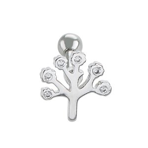 Ear piercing Surgical Steel 316L zirconia Leaf Plant_pattern