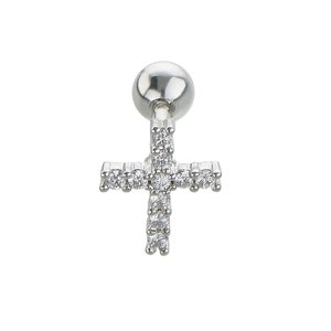 Ear piercing Surgical Steel 316L zirconia Cross