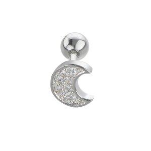 Ear piercing Surgical Steel 316L zirconia Moon Half_moon Half-moon