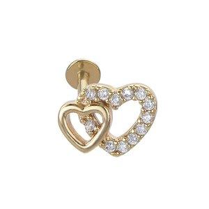 oorpiercing Chirurgisch staal 316L Kristal PVD laag (goudkleurig) hart liefde