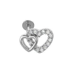 Ear piercing Surgical Steel 316L Crystal Heart Love